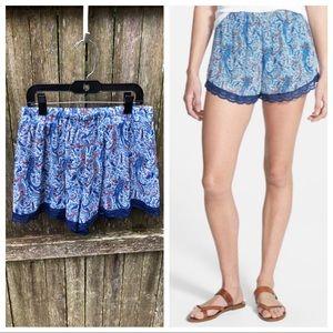 Lush Lace Trim Paisley Print Shorts M Juniors